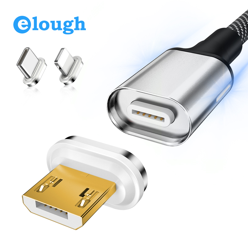 Elough Magnetic Cable For iPhone Xiaomi Samsung Android Mobile Phone Magnet Charger Fast Charge Type C Micro USB Cable-in Mobile Phone Cables from Cellphones & Telecommunications on AliExpress