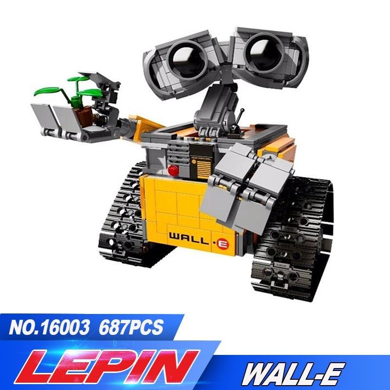 Lepin Technic 16003 687PCS Ideas Series Robot WALL E Building Blocks Bricks Educational Toys For Children Compatible With 21303 new lepin 16003 687pcs idea robot wall e model building kits figures blocks bricks children toys 21303