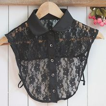 1PC Women Solid Shirt Cotton Lace False Collars White & Black Blouse Vintage Detachable Clothes Accessories