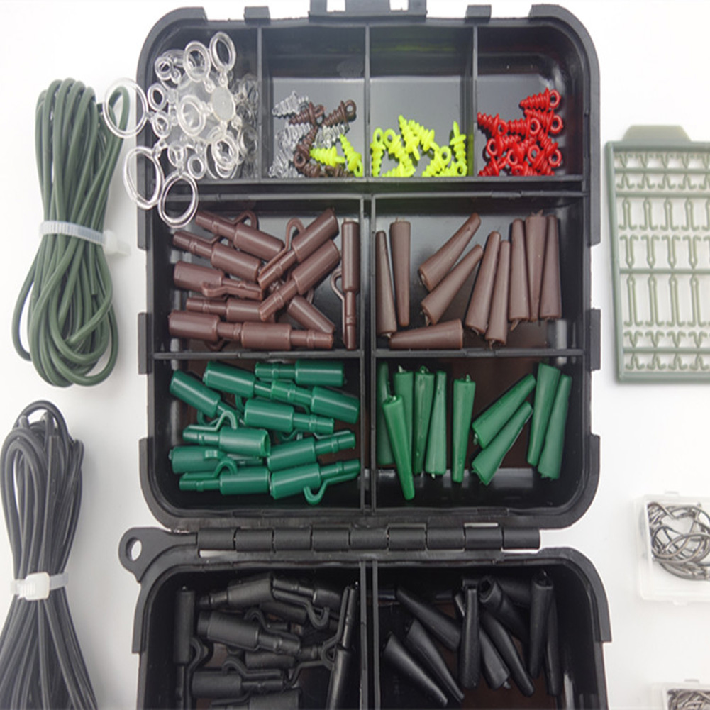 Portable 1 Set Assorted Mesh Plate Stopper/ Hook /Swivel/ Rubber Sleeve Sinker/ Lock Hair Rig etc. Tackle Carp Fishing Accessory