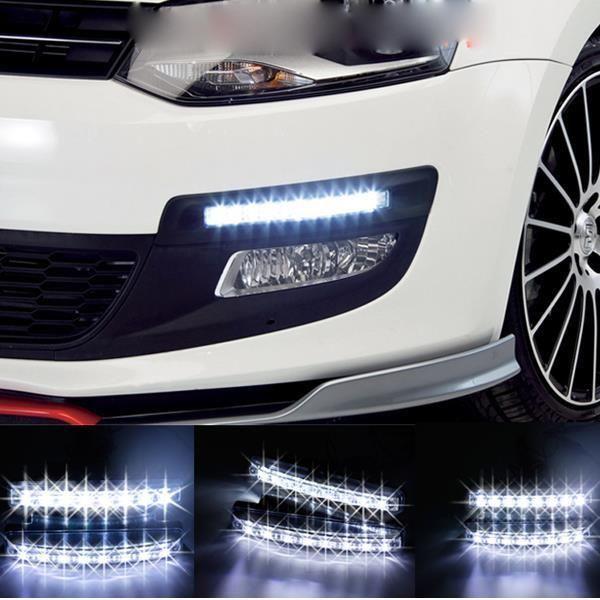 Free Shipping New Car styling 1Pcs Universal Car Daytime Running Lights 8 LED DRL Daylight Kit Super White 12V 12W DC Head Lamp