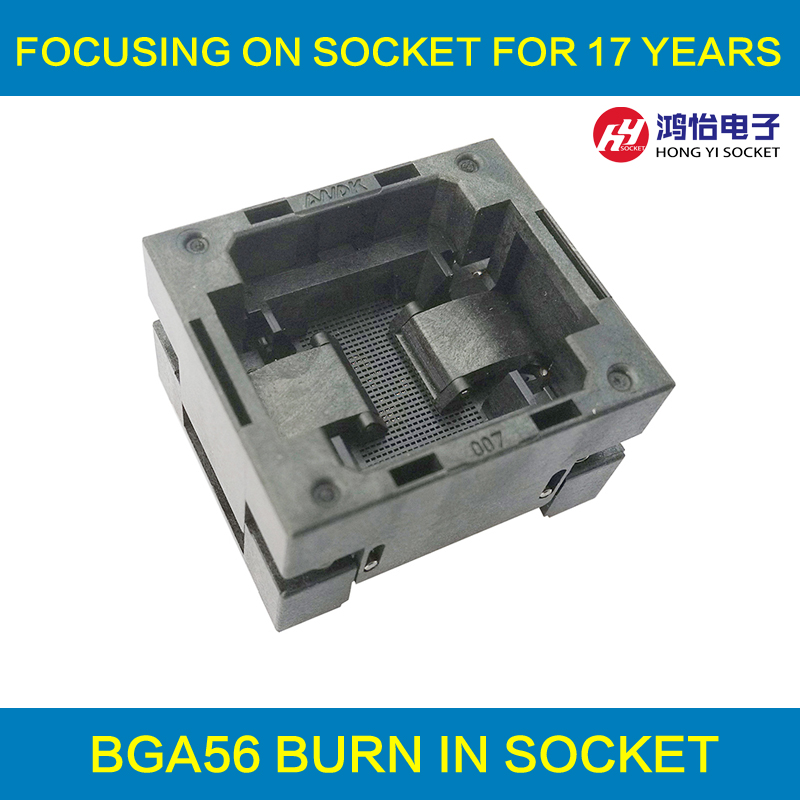 BGA56 OPEN TOP burn in socket pitch 0.5mm IC size 6*6mm BGA56(6*6)-0.5-TP01NT BGA56 VFBGA56 burn in programmer socket bga80 open top burn in socket pitch 0 8mm ic size 7 9mm bga80 7 9 0 8 tp01nt bga80 vfbga80 burn in programmer socket