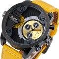 OULM Militar relógio de Pulso de Quartzo com Pulseira de Couro Ocasional dos homens Oversize Dupla Fuso horário Sub Dial DZ Relógios de Design de Luxo + Gift caixa