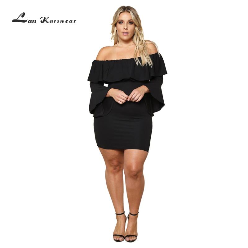 Élégant court robes de soirée hors épaule femmes 2019 grande taille Sexy Clubwear fête moulante robe Femme grande taille dames bureau