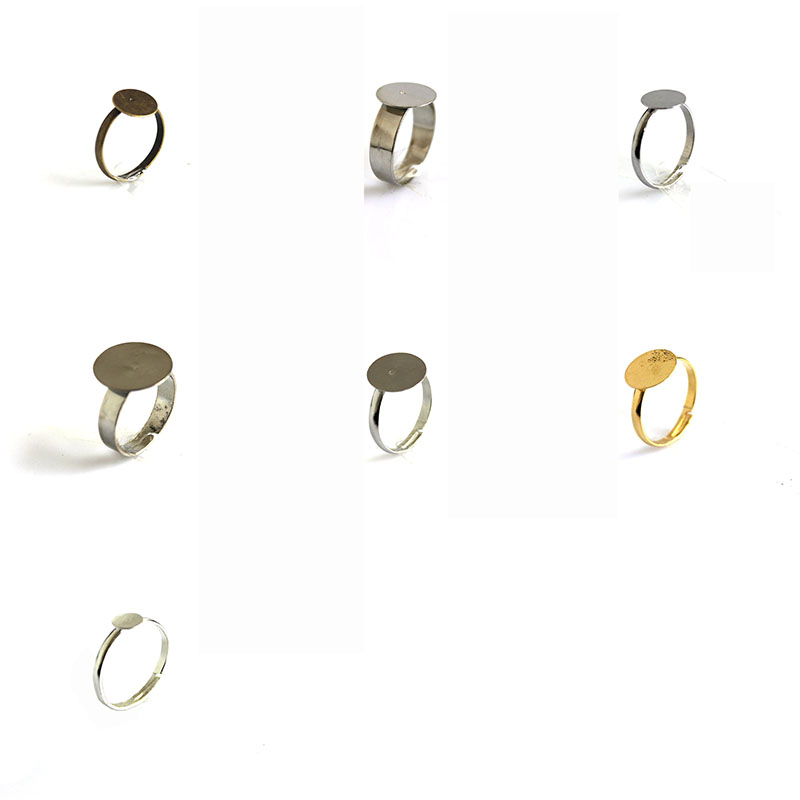 7 Style 100pcs Fashion Jewelry Silver Setting Tone Adjustable Ring Bases Blanks Setting Flat Padding for Jewelry Make