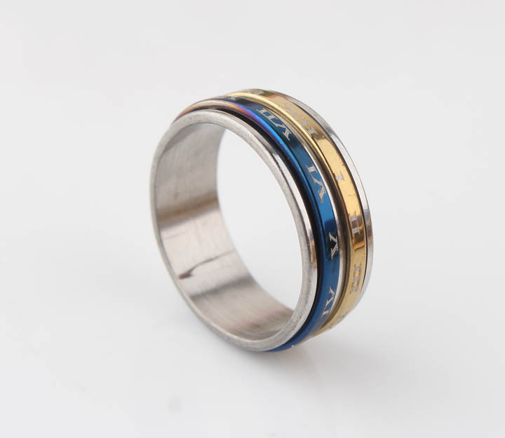 Hot Blue Sliver Roman Rotatable Alphabet Unisex Ring 316L Stainless Steel Top Quality Fast Shipping Roman Letter Band Ring