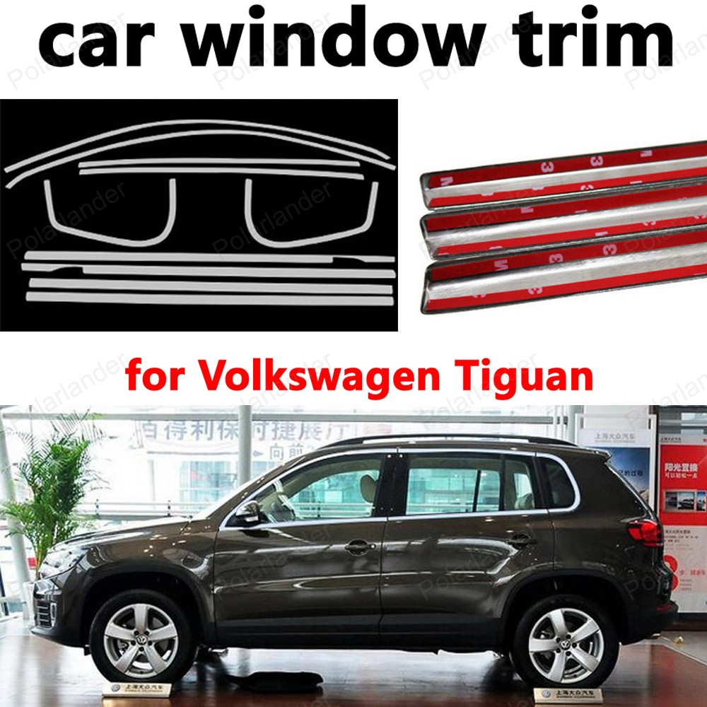 Car Exterior Accessories Styling Decoration Strips Stainless Steel Window Trim for Volkswagen Tiguan without column stainless steel full window with center pillar decoration trim car accessories for hyundai ix35 2013 2014 2015 24