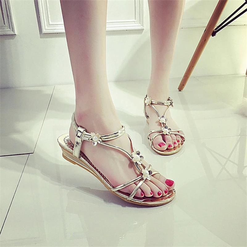 Women Sandals 2017 Summer Shoes Woman Flips Flops Wedges Bohemia Fashion Crystal Flats Female Slides Ladies Casual Shoes women sandals 2017 summer shoes woman wedges fashion gladiator platform female slides ladies casual shoes flat comfortable