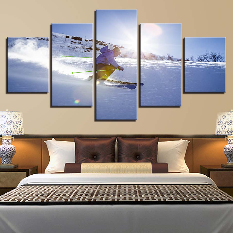 Frame Wall Art Poster Modern Home Decor 5 Panel Sports Sunrise Skiing Living Room Canvas HD Print Painting Modular Pictures
