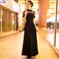 2017 Новая Мода Лето Органза Лоскутное Черный Шифон цельный Dress Женщины Повседневные Коротким Рукавом Slim Long Maxi Dress