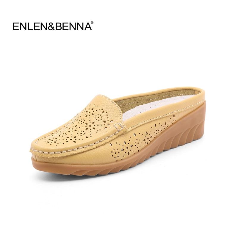 Nueva llegada sandalias de mujer maciza zapatillas de verano de cuero genuino sandalias planas para mujer zapatos de mujer sandalias 2018