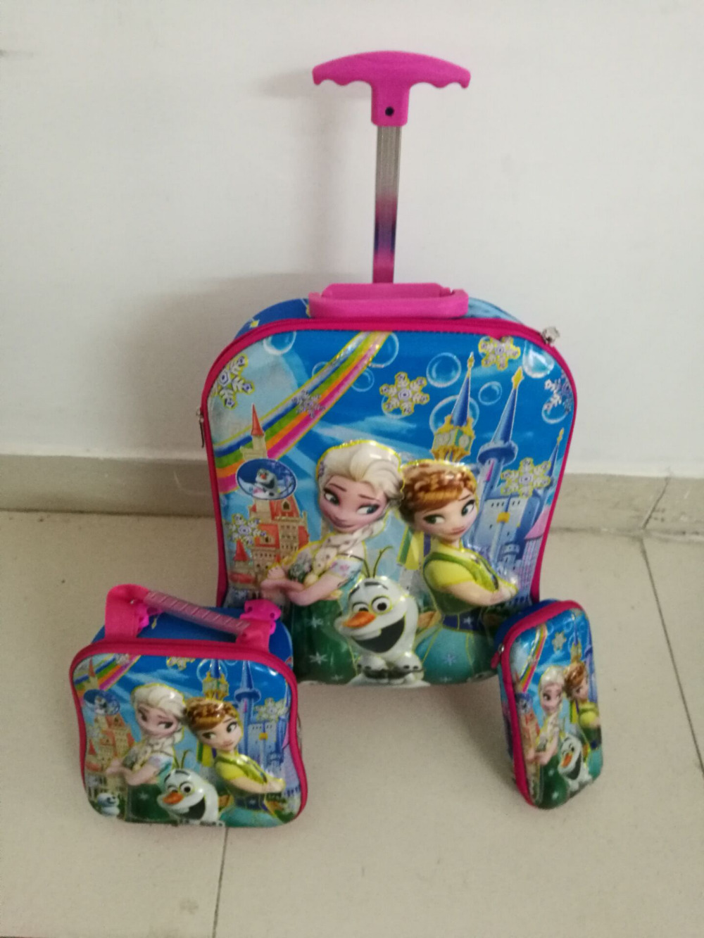 ФОТО 2017 Children new  trolley luggage 6D trolley school bag with lunch & pencil bag of  Anna & Elsa  princess  travel suitcase sets
