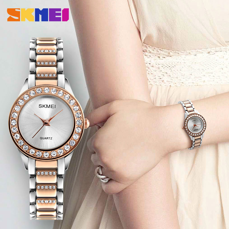 d9be6dba61e SKMEI Women Fashion Watches Luxury Stainless Steel Strap Quartz Watch  Ladies Waterproof Casual Wristwatches Relogio Feminino. артикул  32818885590