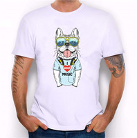 TANKCORPS 2016 New Arrival Men S Fashion Crazy DJ Cat Design T Shirt Cool Tops Short