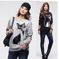 Fashion autumn Women Cotton Long Sleeve Loose hoodie sweatshirt warm Tops Blouse Shirt 2017 lady Casual cat print Sweatshirt New