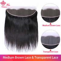Koningin Haar Producten Braziliaanse Virgin Rechte 13x4 Transparant Kant Frontale Sluiting 100% Human Hair Medium Brown Swiss Lace