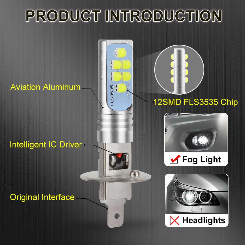 2 uds H1 H3 bombilla LED Super brillante 12 3535SMD luces antiniebla de coche 12V 24V 6000K blanco conducción día lámpara de funcionamiento automático