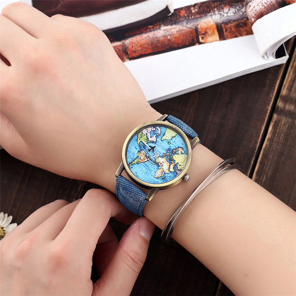 Student Women Men Wrist Watch Round World Map Airplane Stainless Steel Fashion Gift TT@88 image