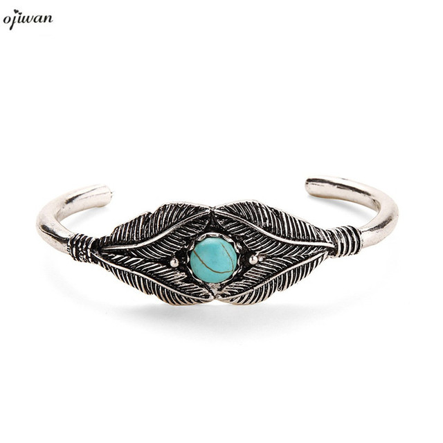 Boho Bracelet Femme Open Leaf Cuff Bangle Tribal Ethnic Indian Native American Jewelry Navajo