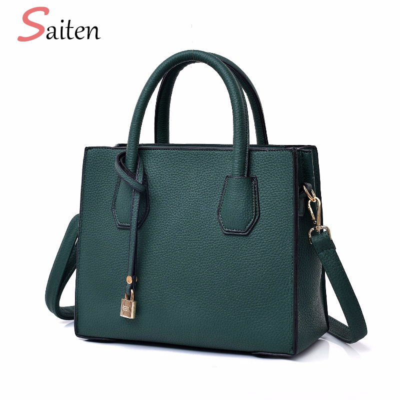 Fashion Litchi Pattern Leather Handbags Women Casual Tote Wo