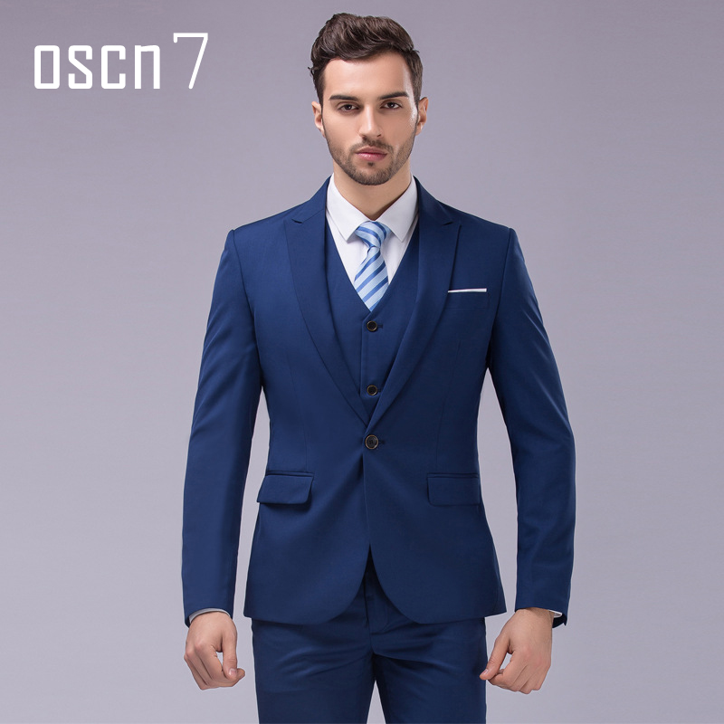 OSCN7 3pcs 12 Color Suit Men Slim Fit Notch Lapel Business Mens ...