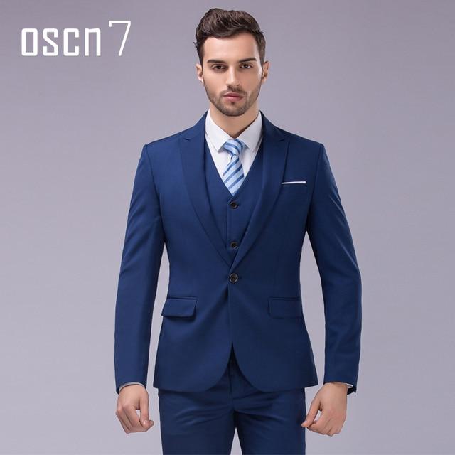 Oscn7 3pcs 12 Color Suit Men Slim Fit Notch Lapel Business Mens Wedding Groom Dress