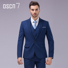 OSCN7 3pcs 12 Color Suit Men Slim Fit Notch Lapel Business Mens Suit Wedding Groom Dress Suits For Men (blazer+vest+pants) S-4XL