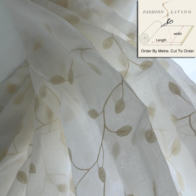280cm Wide F Embroidery Linen Sheer Curtain Fabrics Shower Window Curtains Cloth Cotton Yarn D Fabric