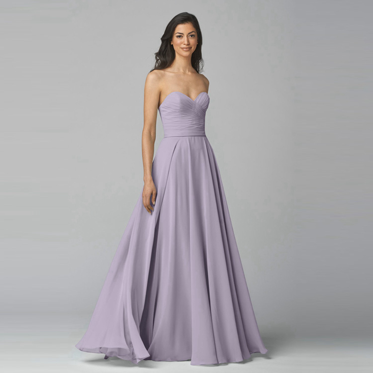 US $99.0 |Lavender Long Chiffon Bridesmaid Dress For Party Sweetheart  Backless Plus Size Dresses Under $100 Junior Bridesmaid Girl Dresses-in ...