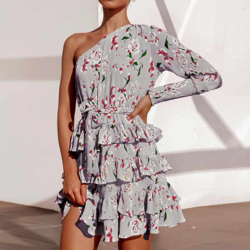 Boho Цветочный принт Для женщин платья летнее пляжное шифоновое мини-платье сексуальное платье на одно плечо трапециевидной формы вечерние платье элегантное платье с рюшами, Vestidos