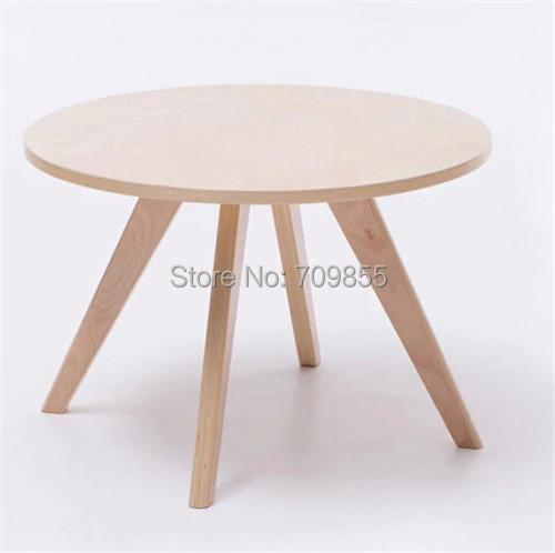 Contemparay Round CoffeeTable Natural Color Living Room Furniture Small Center Wooden Accent Sofa Side Table