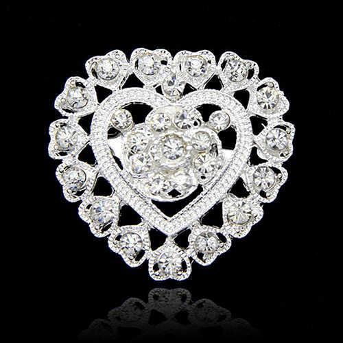 Fleur coeur strass argent plaqué broche broche mariage mariée broche broche
