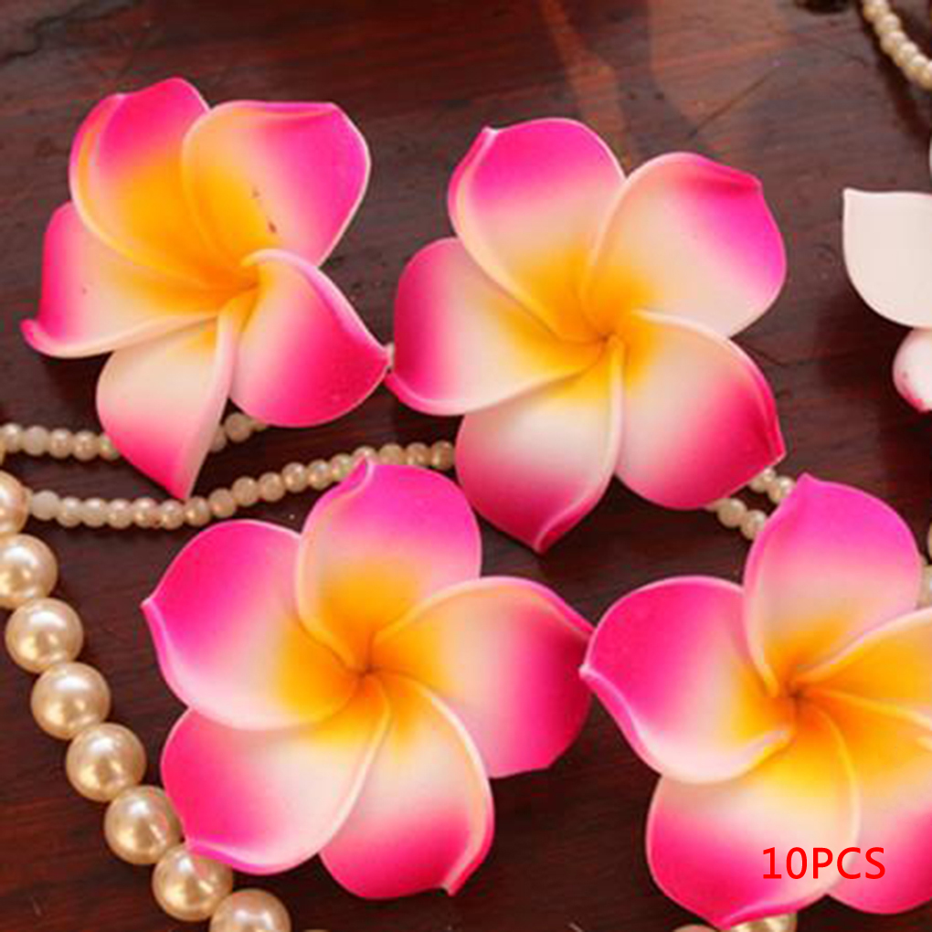 10pcs 7cm DIY Artificial Silk Plumeria Egg Flower Heads for Shoes Straw Hat Decor 4 Color