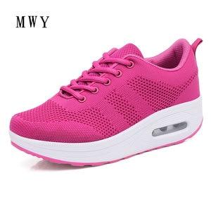 Image 3 - MWY Frauen Casual Plattform Schuhe Mode High Heels Schuhe Frau Zwängt Frauen Weiße Turnschuhe Schuhe Heigh Erhöhung zapatos mujer