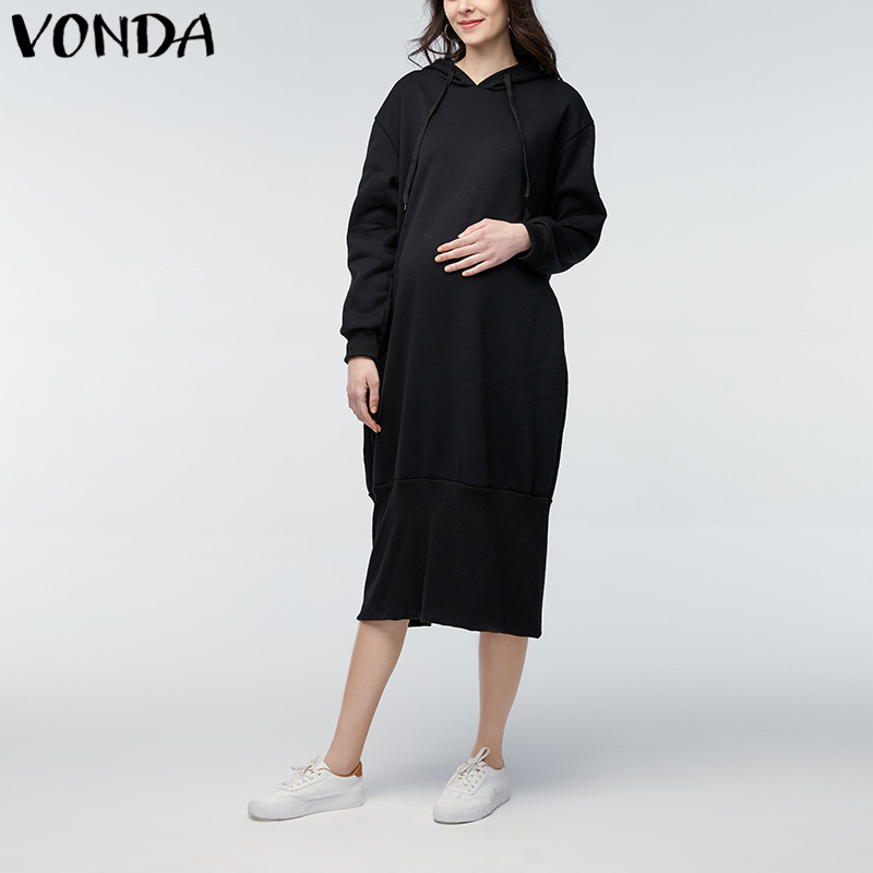VONDA Maternity Clothings 2018 Spring Autumn Solid Mid-calf Dress Pregnant Women Long Sleeve Casual Loose Hooded Vestidos 5XL