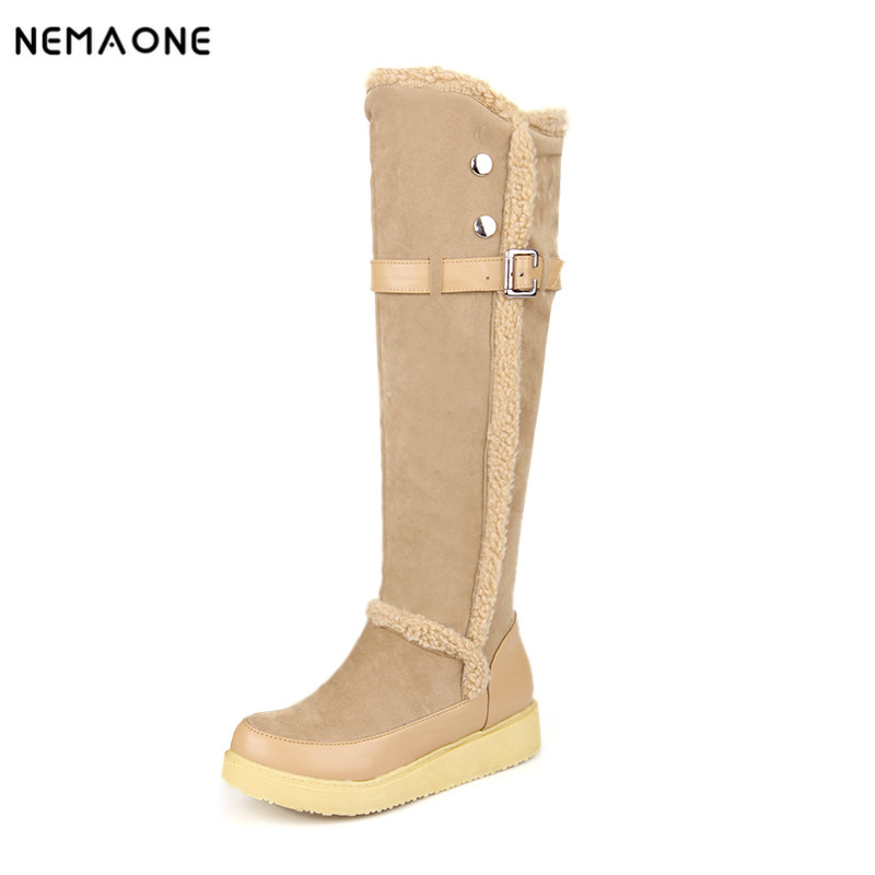 NEMAONE Winter Warm Faux Fur Waterproof Snow Boots Fashion Thick flat Heel knee high Boots Shoes for Women warm faux fur waterproof snow boots women winter fashion ladies high boots big size black brown red orange color dropshipping