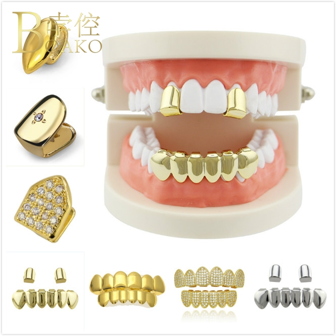 BOAKO Men Grillz Punk Jewelry Tooth Rapper Gold Teeth Single Bling Man Hip-Hop Z5