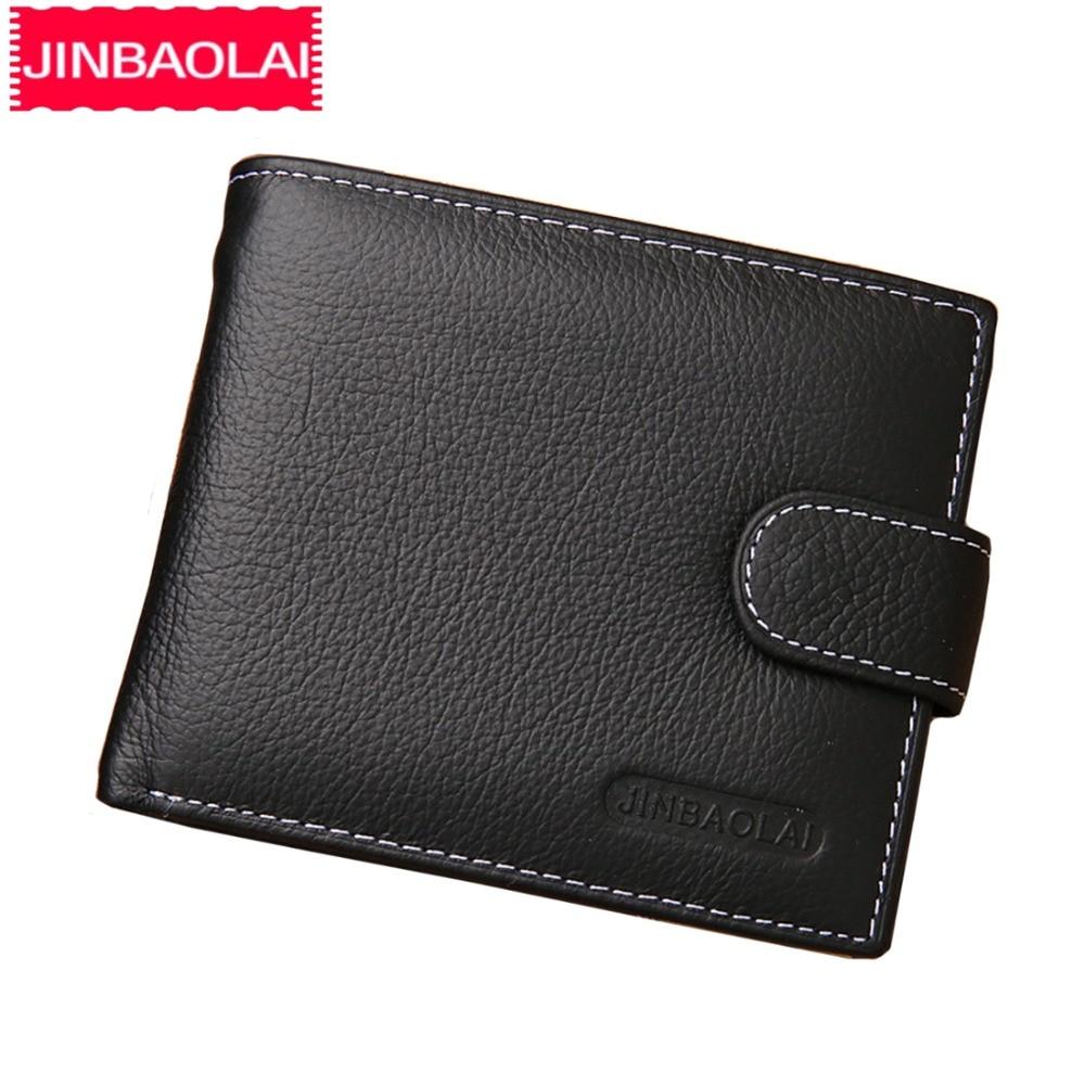 JINBAOLAI Men Wallets Genuine Cow Leather Short Zipper Hasp Male Purse Coin Pocket Card Holder Vintage Brand High Quality Wallet