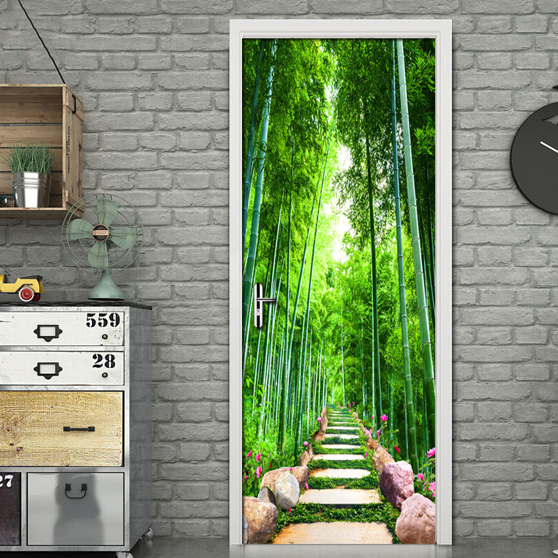 Green Bamboo Path 3D Photo Wallpaper Home Decor Modern Living Room Bedroom Door Stickers PVC Mural Sticker Waterproof Wallpaper