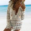 Mulheres verão Maiô Sexy Rendas de Crochê Vestido de Praia Swimwear