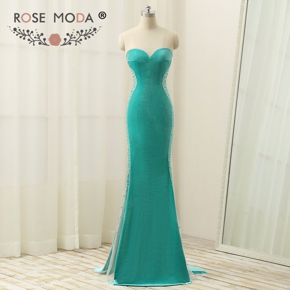 Rose Moda Green Velvet Mermaid   Evening     Dress   Crystal Beaded Long   Evening     Dresses   for Winter Side High Slit Party   Dresses   2018