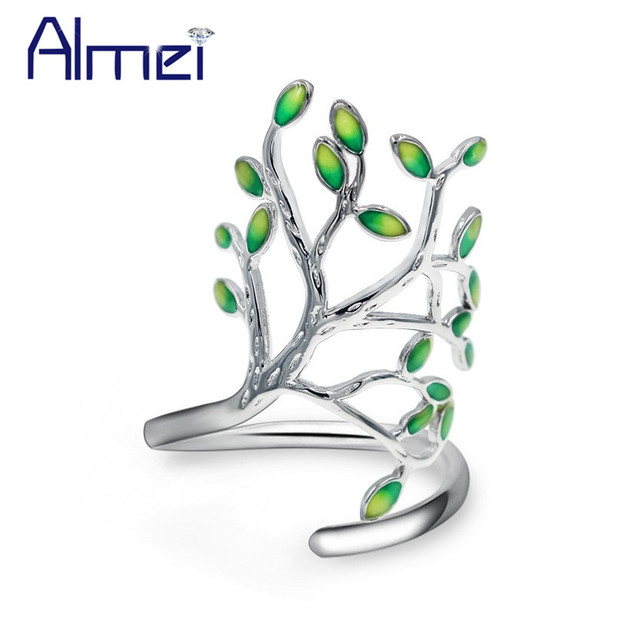 Almei Green Tree Rings For Women Silver Color Ring with Stones New Year Gifts fo