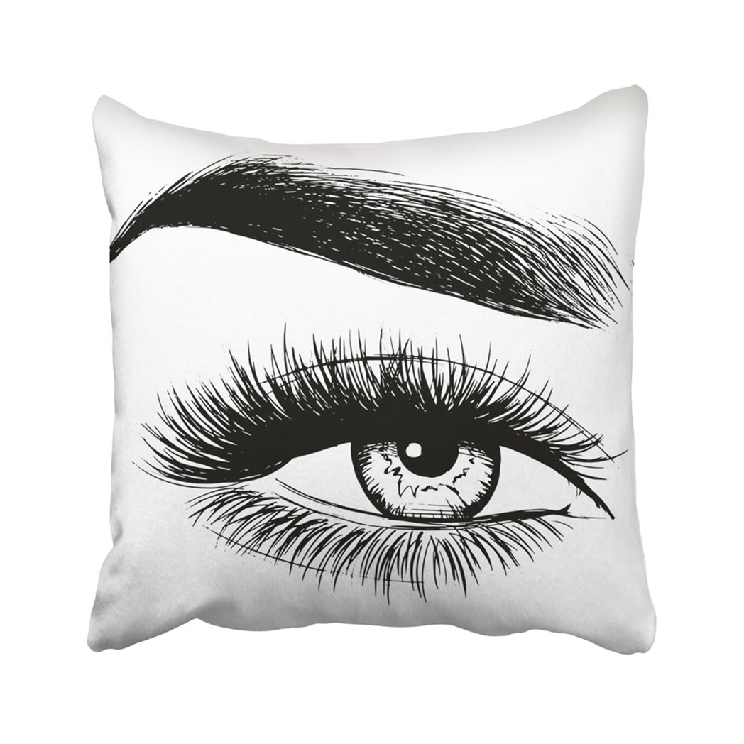 Pillow Cover Black Eyelash Beautiful Woman White Brow Eyebrow Beauty Face Close Makeup Model Pillowcase Square Print For Home