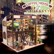 купить DIY Dollhouse Furniture Miniature Toy Doll house Light Wooden House Toys For Children Kids Gift Happiness One Cup of Coffee по цене 1847.23 рублей