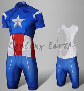 Image 5 - 9D pad,Captain America Spiderman Superman Iron Man short sleeve cycling jersey bib shorts set Ropa Ciclismo bicicleta clothes-in Cycling Sets from Sports & Entertainment
