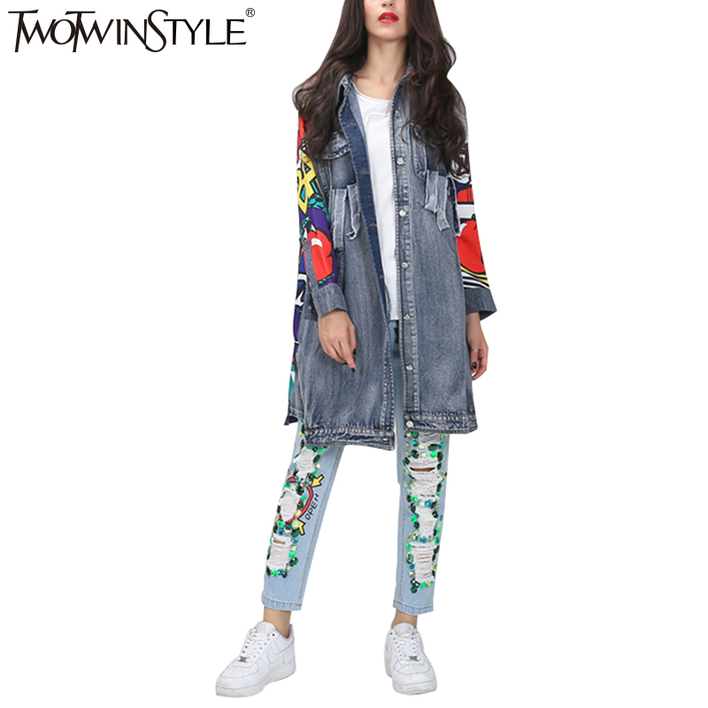 Nouvelle Printemps Femmes Coat Pour Vêtements Graffiti Poches Pu Spliced Streetwear À Ciel Trench Déchiré twotwinsltyle Manches Imprimer Longues Denim FB6dWwqq