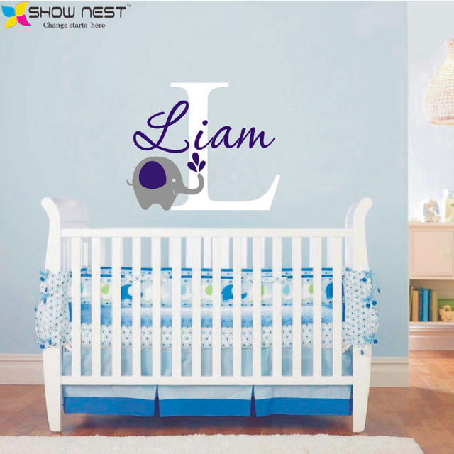 custome baby name decal elephant wall sticker baby room art decor