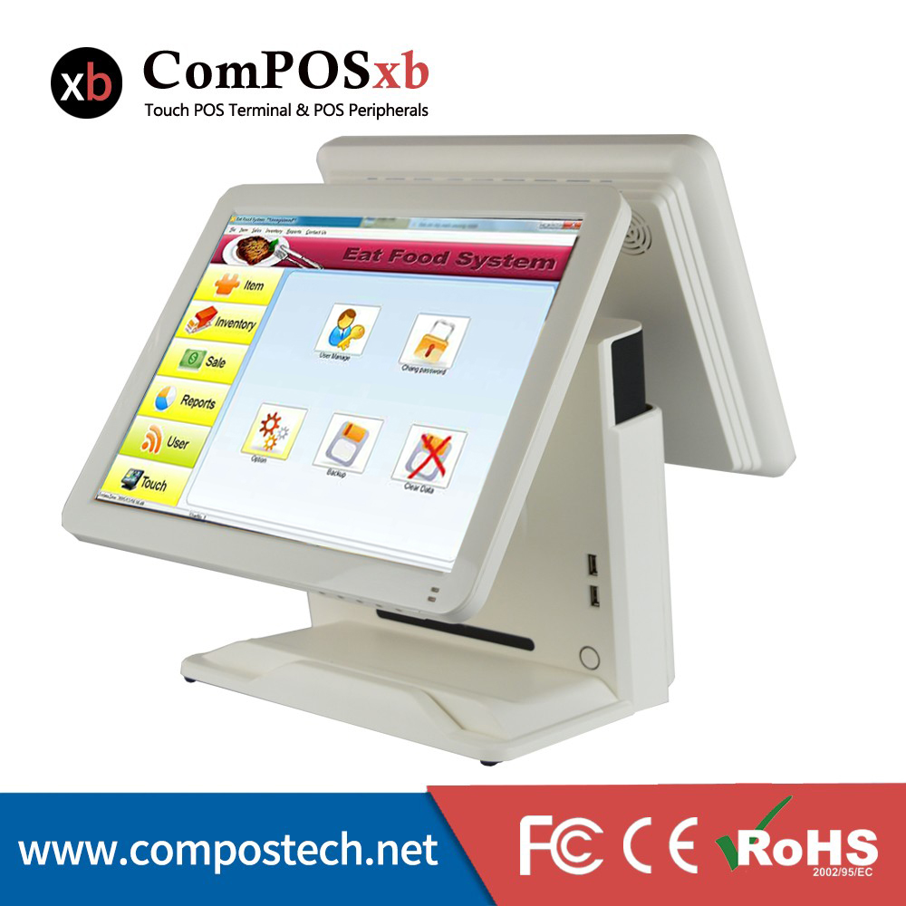 15 inch cash register/pos system/pos machine with touch Dual screen point of sales system cash register machine 15 inch tft led touch screen double monitor point of sale pos terminal for restaurant