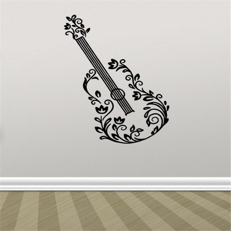 IDFIAF 1PCS Wall stickers flower electric guitar chords rock music ...