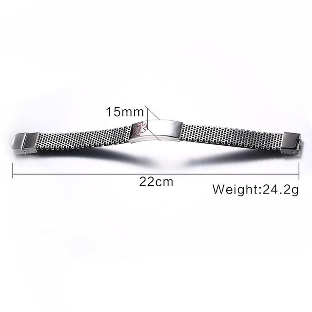 Custom ID Medical Alert Personalized Stainless Steel Bracelet